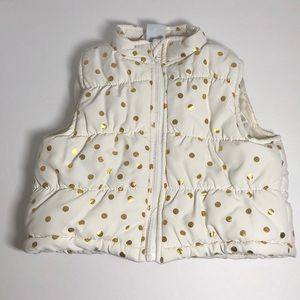 Winter Vest whit with Gold Polka Dots Size 18 mont